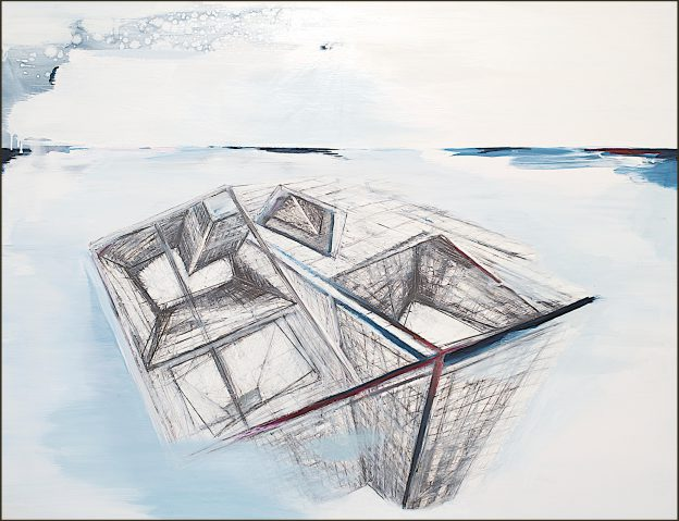 61<>Building down under<>Graphite and oil on canvas<>100x 110 cm