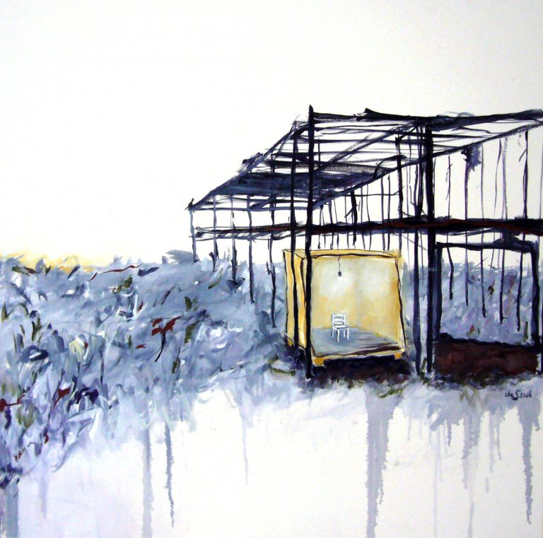59<>Shelter <>Oil on canvas<>60x60 cm