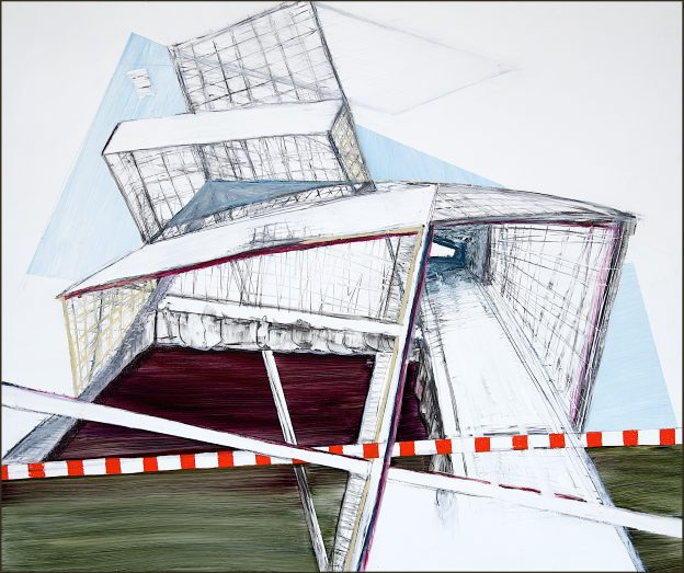 62<>Unfolding an argument<>Graphite and oil on canvas<>100x 110 cm