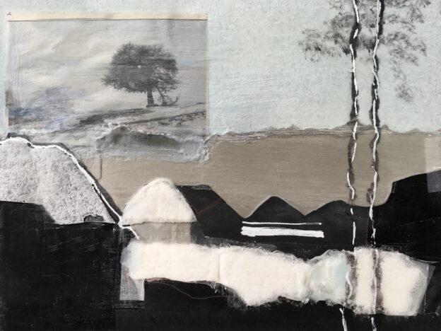 65<> Laren in winter, revisited<>Collage on paper<>30x40 cm