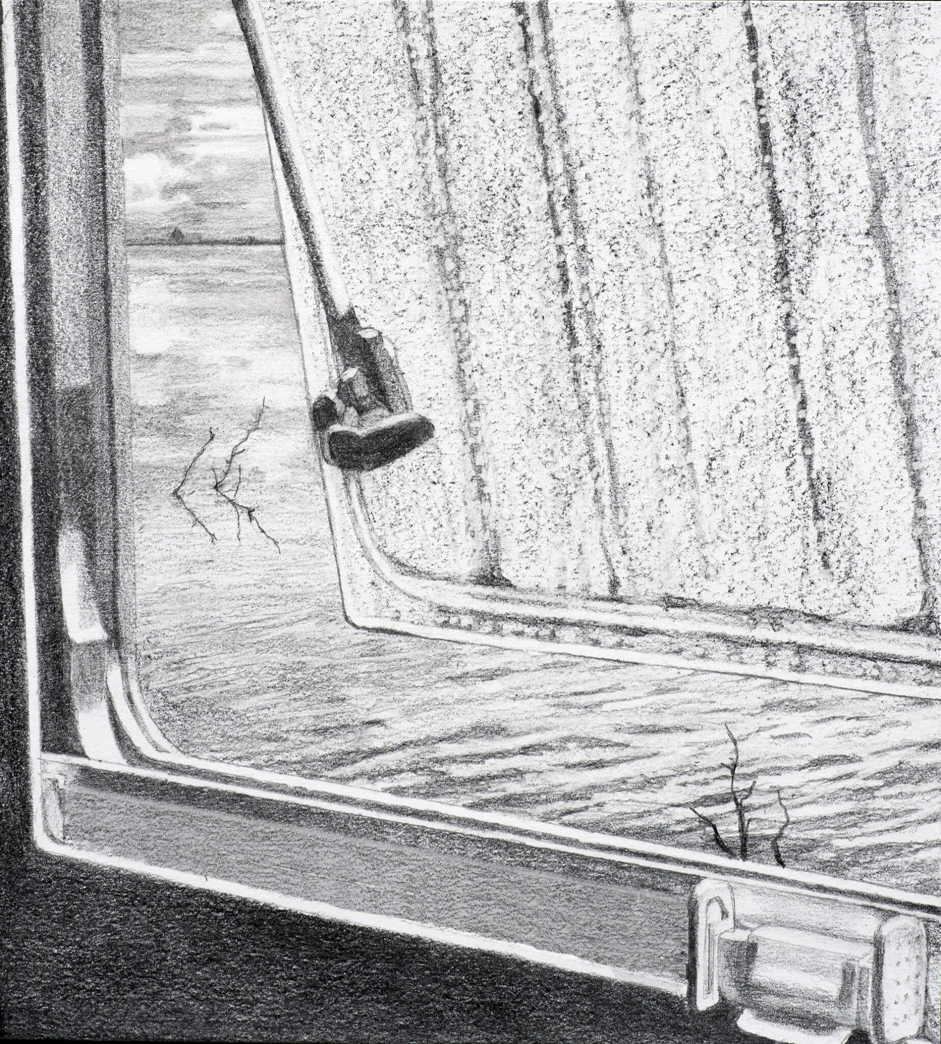 View on a window 3, Pencil on paper, 19X20 cm